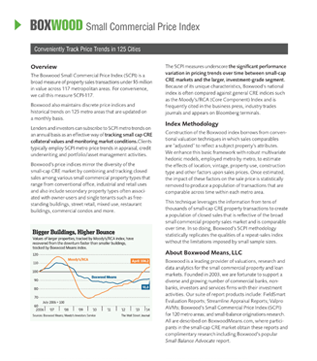Small Commercial Price Indices support collateral valuation and market monitoring