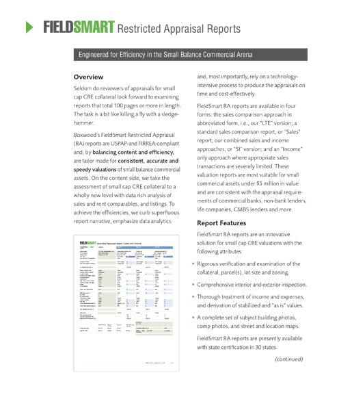FieldSmart Restricted Appraisal report